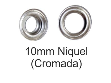 Ollado + arandela metal nickel 10mm. Paq. 500 unidades - NIQUEL-10MM